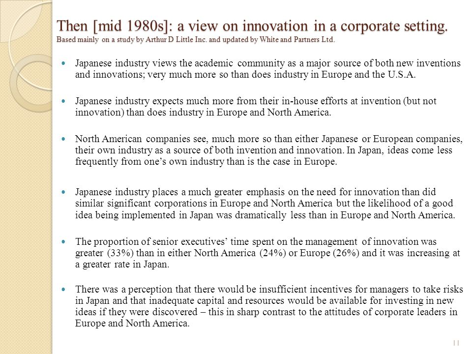 Then [mid 1980s]: a view on innovation in a corporate setting